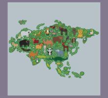 Eurasia Animal Map Green Kids Tee
