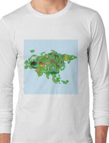 Eurasia Animal Map Green Long Sleeve T-Shirt