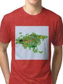 Eurasia Animal Map Green Tri-blend T-Shirt