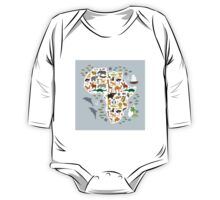 African animal map and ocean One Piece - Long Sleeve