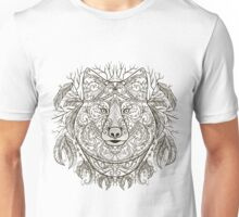 Wolf head with tribal aztec ornament in boho style. Unisex T-Shirt