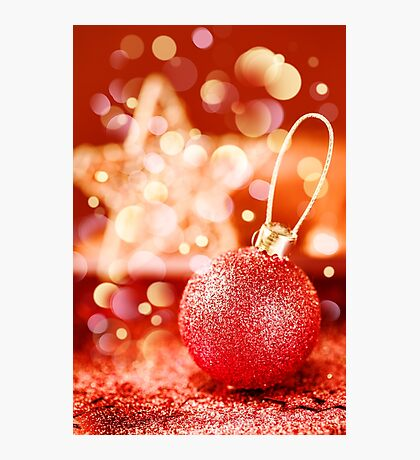 Bright Christmas Decorations with Red Shining Bauble Photographic Print