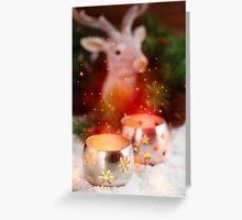 Burning candle lanterns with magical shine lights Greeting Card