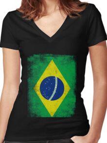 Brazil Flag Proud Brazilian Vintage Distressed Women's Fitted V-Neck T-Shirt