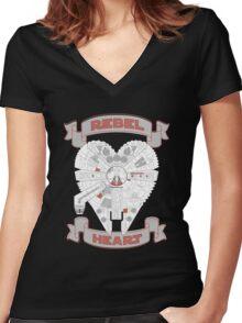 Rebel Heart - red Women's Fitted V-Neck T-Shirt