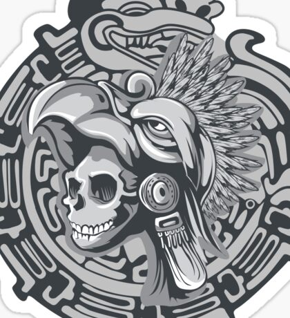 Aztec Skull Warrior  Sticker