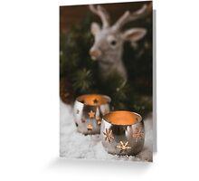 Burning candle lanterns. Christmas mood Greeting Card