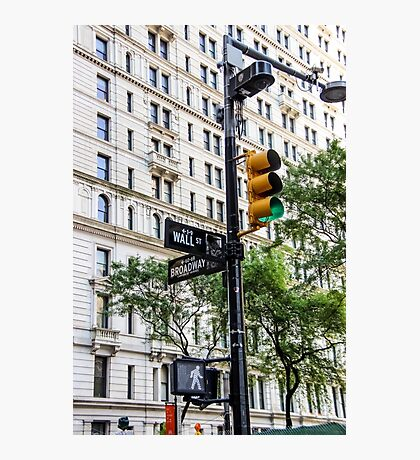 New York Traffic Lights & Signs at Wall Street / Broadway Junction Photographic Print