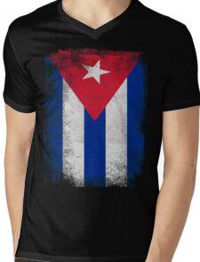 Cuba Flag Proud Cuban Vintage Distressed Mens V-Neck T-Shirt