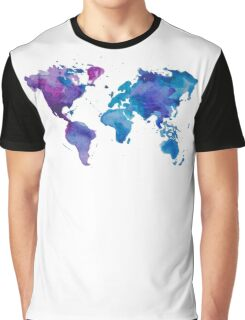Watercolor Map of the World Graphic T-Shirt