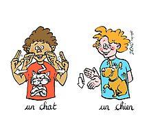 mug voyage chat chien langue des signes Photographic Print