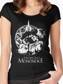 Studio Ghibli Mononoke Hime Black Shirt Women's Fitted Scoop T-Shirt