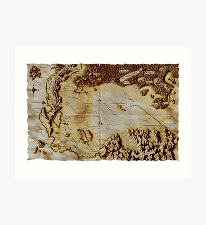 Old folded map of Alagaësia Art Print