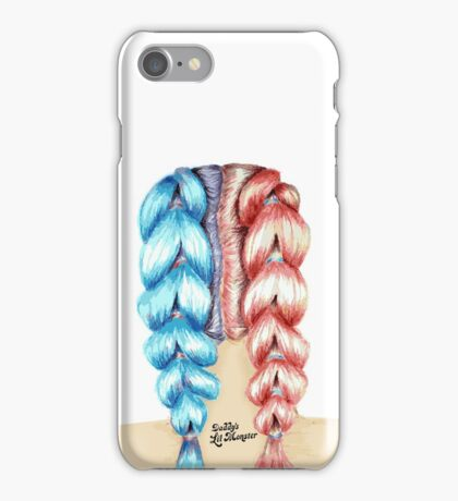 Red and Blue Hair doodle! iPhone Case/Skin