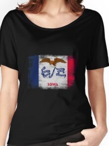 Iowa State Flag Distressed Vintage  Women's Relaxed Fit T-Shirt