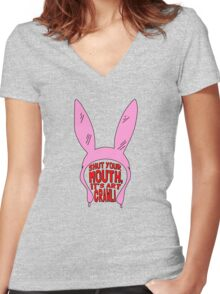 Shut Your Mouth It's Art Crawl Women's Fitted V-Neck T-Shirt