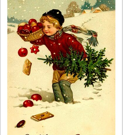 CHRISTMAS; Vintage Country Scene Print Sticker