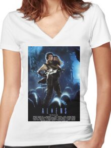 Aliens Women's Fitted V-Neck T-Shirt