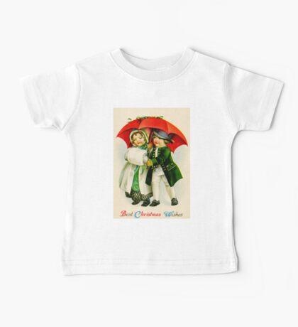 CHRISTMAS VINTAGE; Young Couple Walking Print Baby Tee