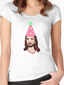 Happy Birthday Jesus Funny Christmas Shirt Women's Fitted Scoop T-Shirt