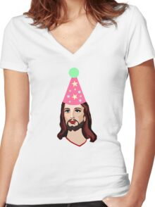 Happy Birthday Jesus Funny Christmas Shirt Women's Fitted V-Neck T-Shirt