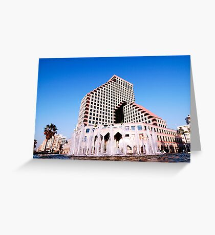Israel Tel Aviv, The new modern residential and commercial Opera tower Greeting Card