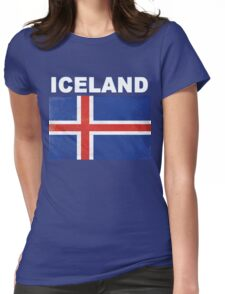 HD Distressed Iceland Flag Design Womens Fitted T-Shirt