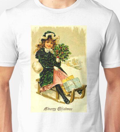 CHRISTMAS; Vintage Sleigh Ride Print Unisex T-Shirt
