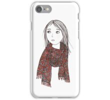 Girl with knitted sjawl iPhone Case/Skin