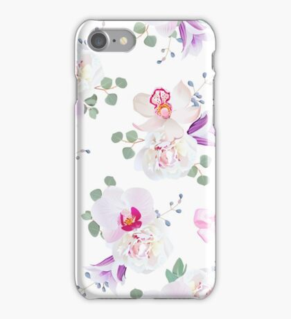 Elegant seamless vector print in purple, pink and white tones with bows.  iPhone Case/Skin