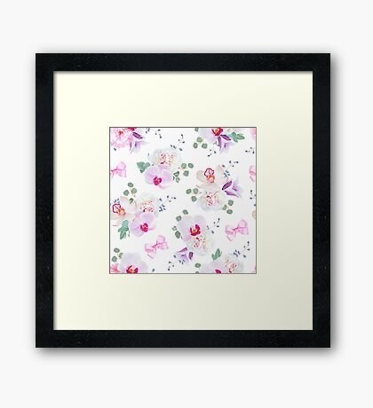 Elegant seamless vector print in purple, pink and white tones with bows.  Framed Print