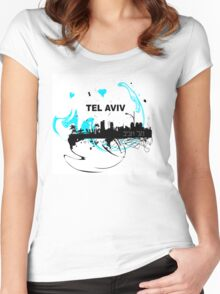 Art skyline of the Mediterranean Sea, Tel Aviv, Israel  Women's Fitted Scoop T-Shirt