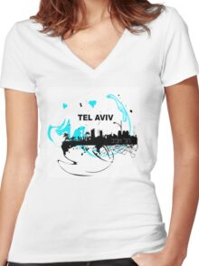 Art skyline of the Mediterranean Sea, Tel Aviv, Israel  Women's Fitted V-Neck T-Shirt