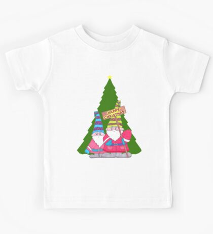 Two cute gnomes and a christmas tree, Happy Christmas Kids Tee