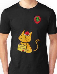 Merry Christmas Manga Cat wth red balloon, hand drawn Unisex T-Shirt