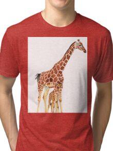 Giraffe Art - A Mother's Love - By Sharon Cummings Tri-blend T-Shirt