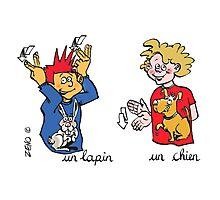 mug voyage lapin chien langue des signes Photographic Print