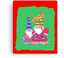 Two very cute Christmas Gnomes for a Happy Christmas Canvas Print