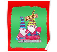 Two very cute Christmas Gnomes for a Happy Christmas Poster