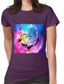 Never Grow U p Nebula Blue Womens Fitted T-Shirt