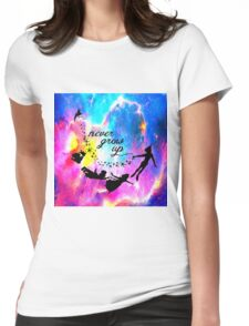 Never Grow U p Nebula Blue Womens Fitted T-Shirt