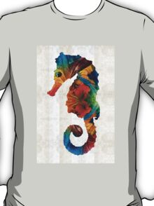 Colorful Seahorse Art by Sharon Cummings T-Shirt