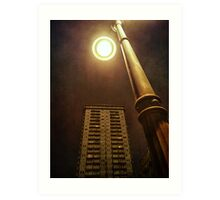 Night with street lamp and building Art Print