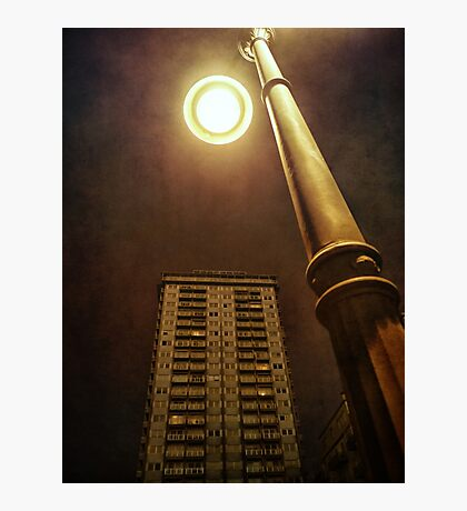 Night with street lamp and building Photographic Print