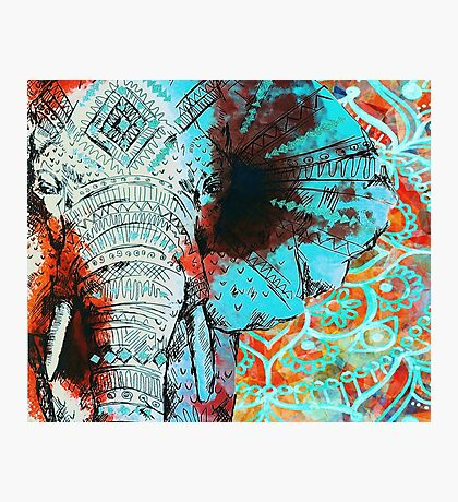 Sketched Indian Elephant Photographic Print