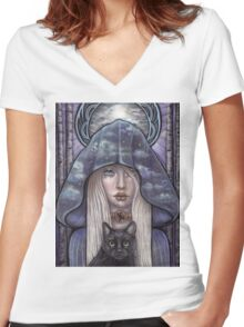 Nauthiz Rune Maiden black cat sorceress Women's Fitted V-Neck T-Shirt
