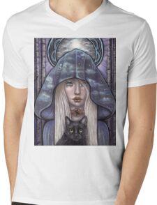 Nauthiz Rune Maiden black cat sorceress Mens V-Neck T-Shirt