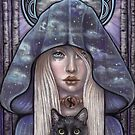 Nauthiz Rune Maiden black cat sorceress by MoonSpiral