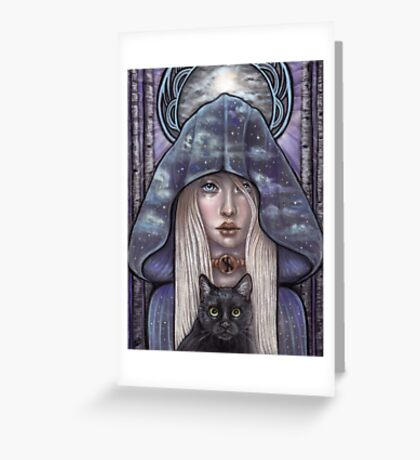 Nauthiz Rune Maiden black cat sorceress Greeting Card