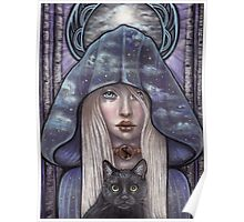 Nauthiz Rune Maiden black cat sorceress Poster